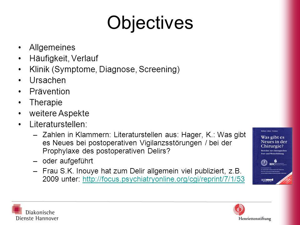 Objectives Allgemeines Häufigkeit, Verlauf