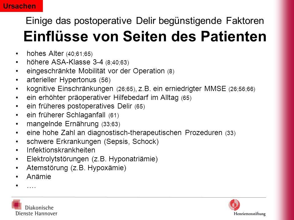 Ursachen Einige das postoperative Delir begünstigende Faktoren Einflüsse von Seiten des Patienten.