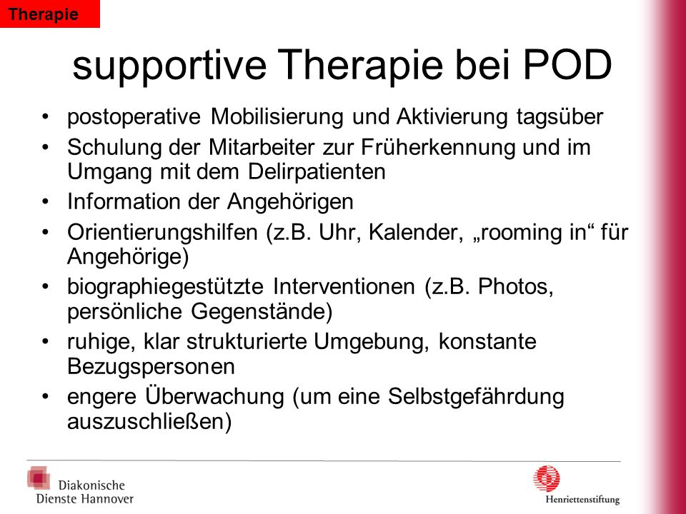 supportive Therapie bei POD