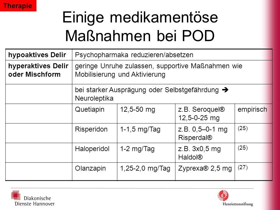 Einige medikamentöse Maßnahmen bei POD
