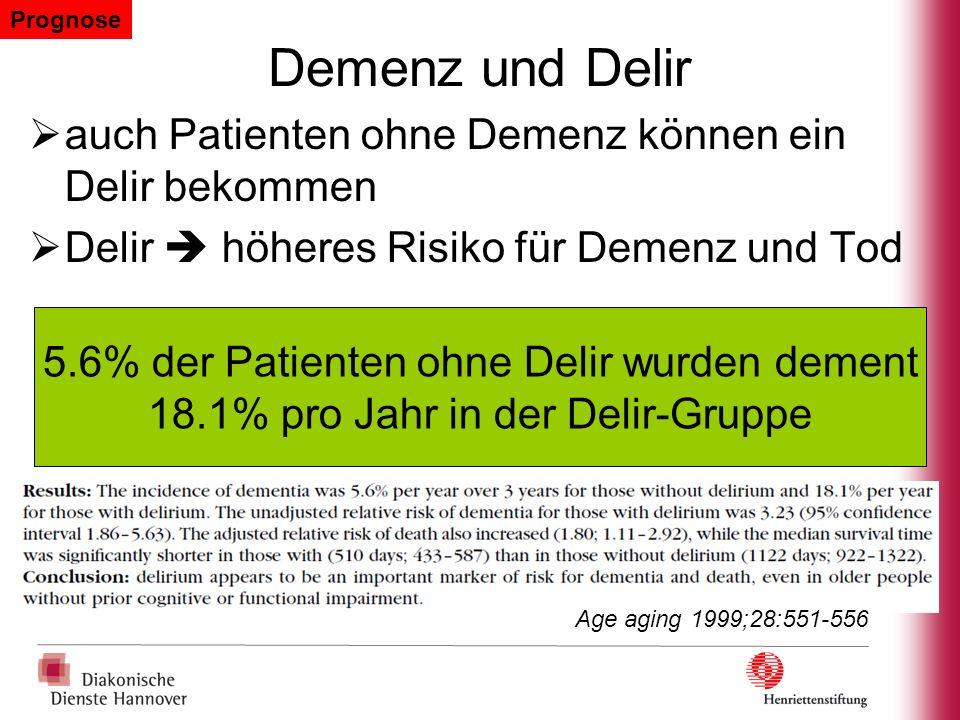 Demenz und Delir auch Patienten ohne Demenz können ein Delir bekommen