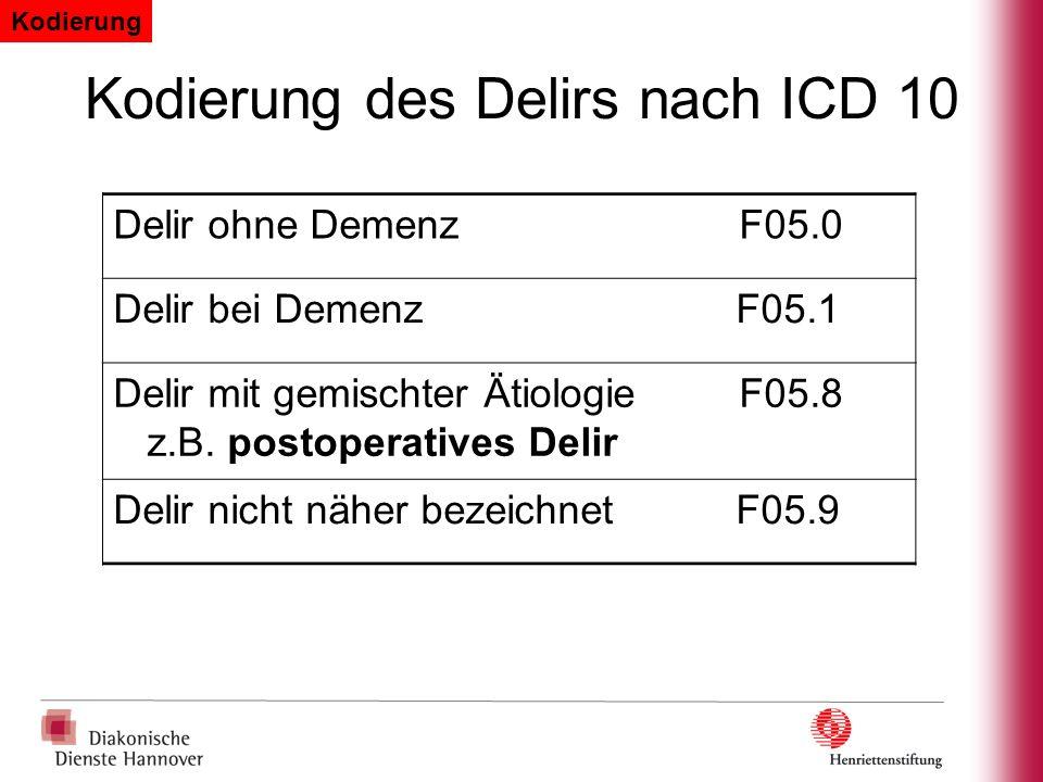 Kodierung des Delirs nach ICD 10