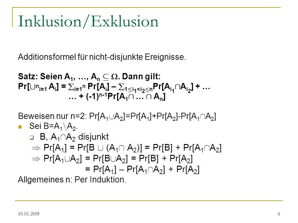 Inklusion/Exklusion B, A1ÅA2 disjunkt