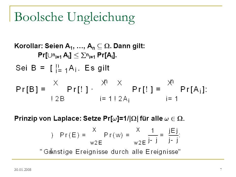 Boolsche Ungleichung Korollar: Seien A1, …, An µ . Dann gilt:
