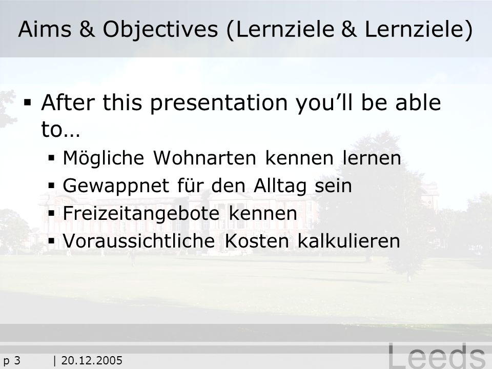 Aims & Objectives (Lernziele & Lernziele)