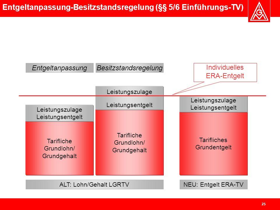 Entgeltanpassung-Besitzstandsregelung (§§ 5/6 Einführungs-TV)