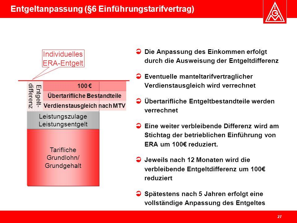 Entgeltanpassung (§6 Einführungstarifvertrag)