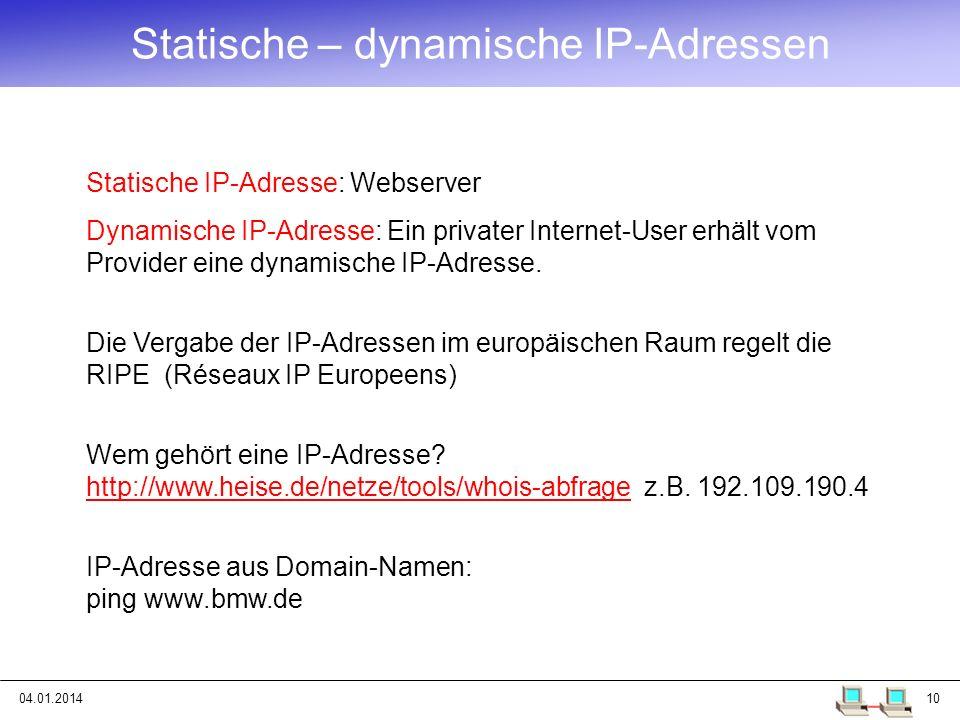 Statische – dynamische IP-Adressen