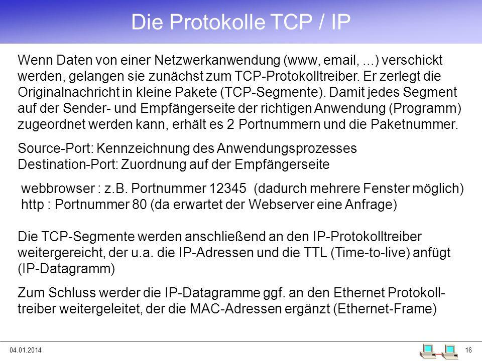 Die Protokolle TCP / IP
