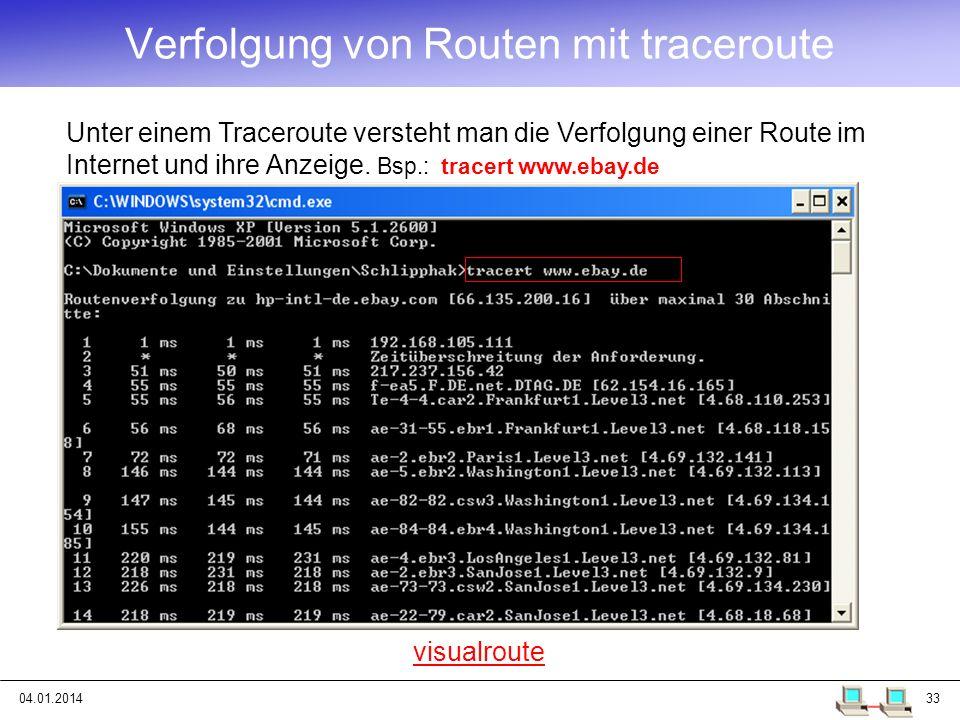 Verfolgung von Routen mit traceroute