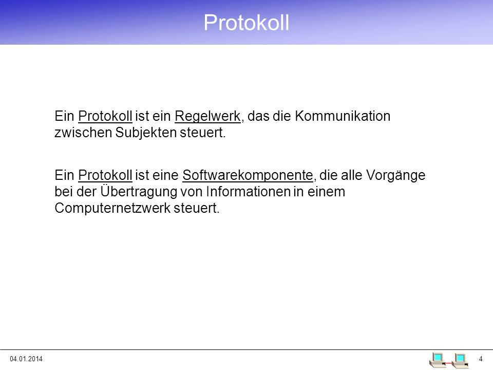 Protokoll Ein Protokoll ist ein Regelwerk, das die Kommunikation zwischen Subjekten steuert.