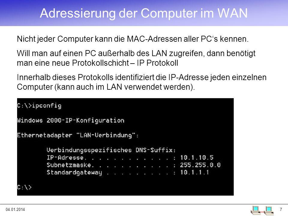 Adressierung der Computer im WAN