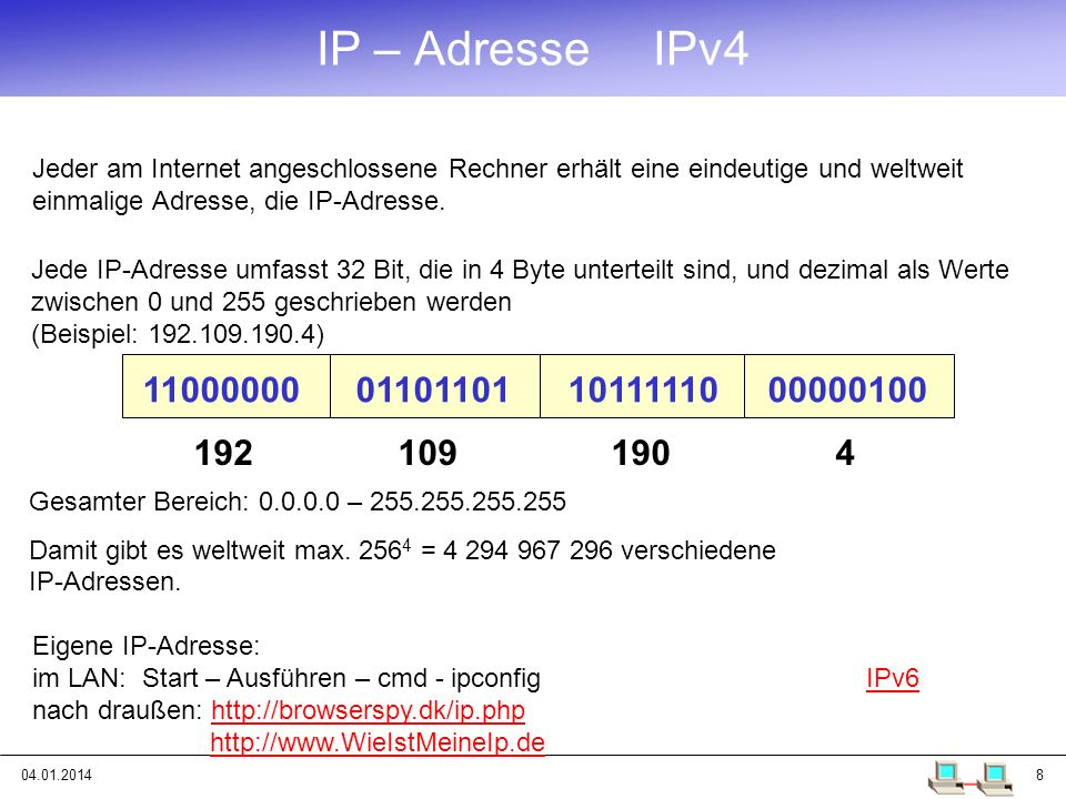 IP – Adresse IPv4 Jeder am Internet angeschlossene Rechner erhält eine eindeutige und weltweit einmalige Adresse, die IP-Adresse.