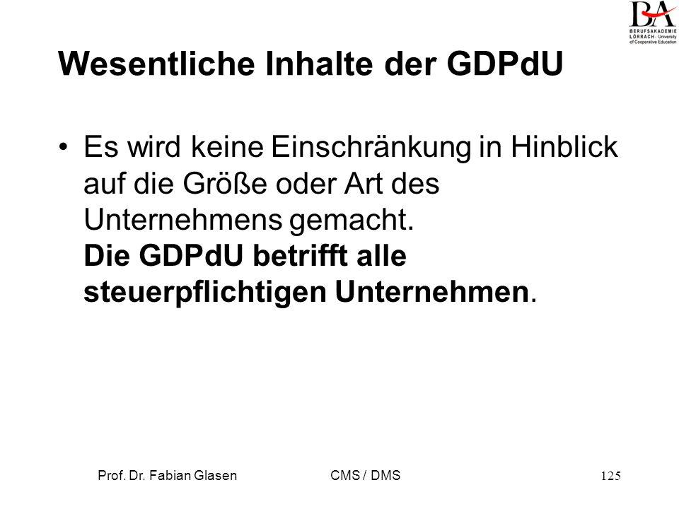 Wesentliche Inhalte der GDPdU
