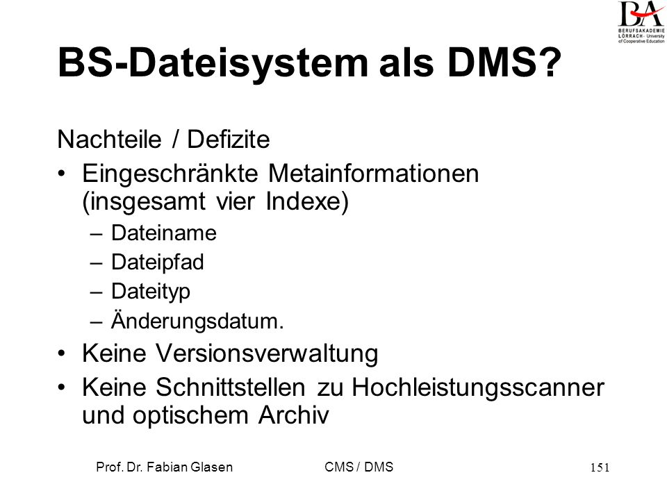 BS-Dateisystem als DMS