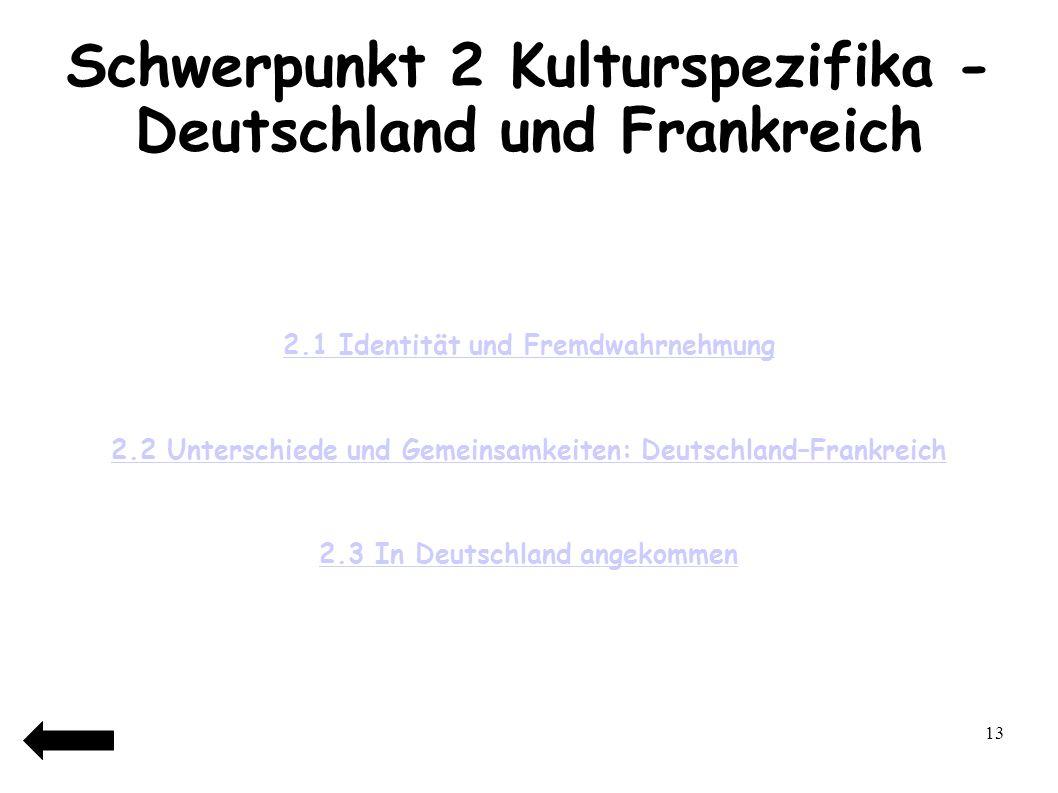 Schwerpunkt 2 Kulturspezifika - Deutschland und Frankreich
