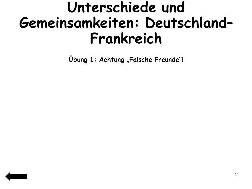 Unterschiede und Gemeinsamkeiten: Deutschland–Frankreich