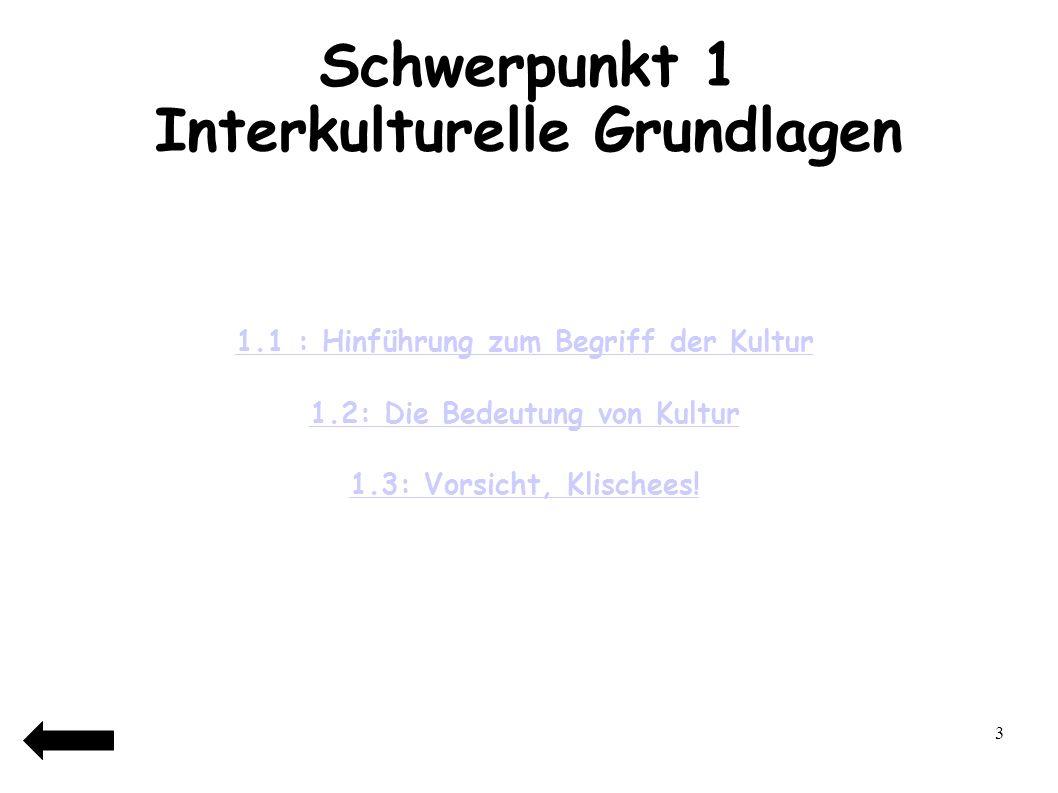 Schwerpunkt 1 Interkulturelle Grundlagen