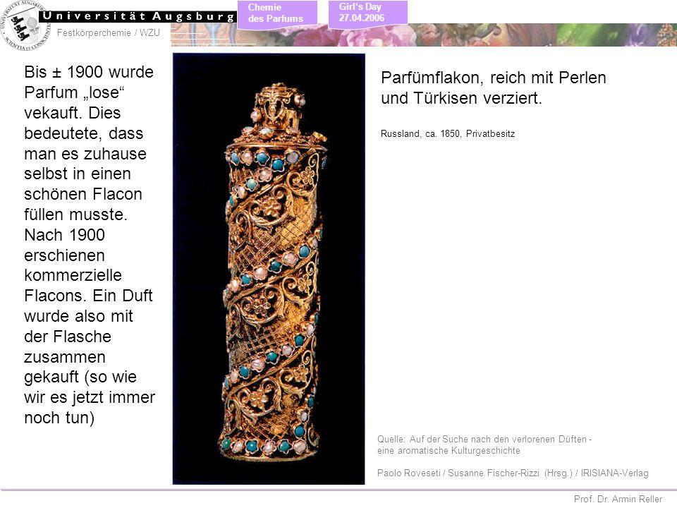 Parfümflakon, reich mit Perlen und Türkisen verziert.