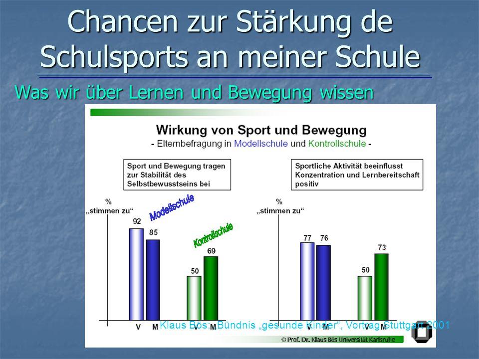 Chancen zur Stärkung de Schulsports an meiner Schule
