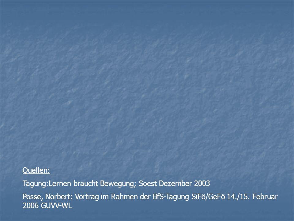 Quellen: Tagung:Lernen braucht Bewegung; Soest Dezember 2003.