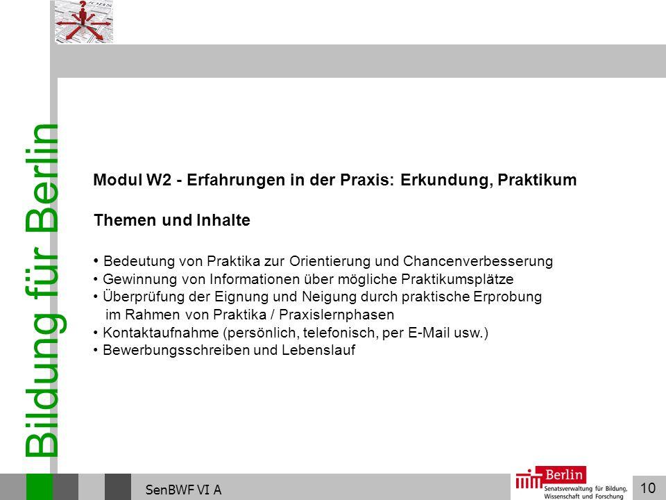 Modul W2 - Erfahrungen in der Praxis: Erkundung, Praktikum