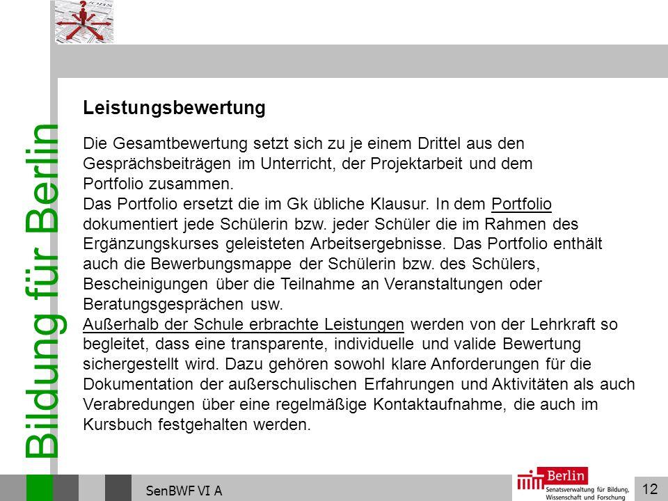 Bildung für Berlin Leistungsbewertung