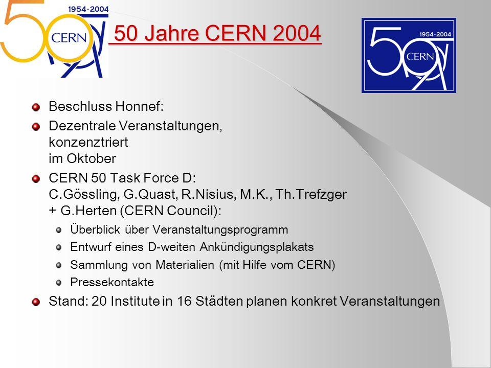 5) 50 Jahre CERN 2004 Beschluss Honnef: