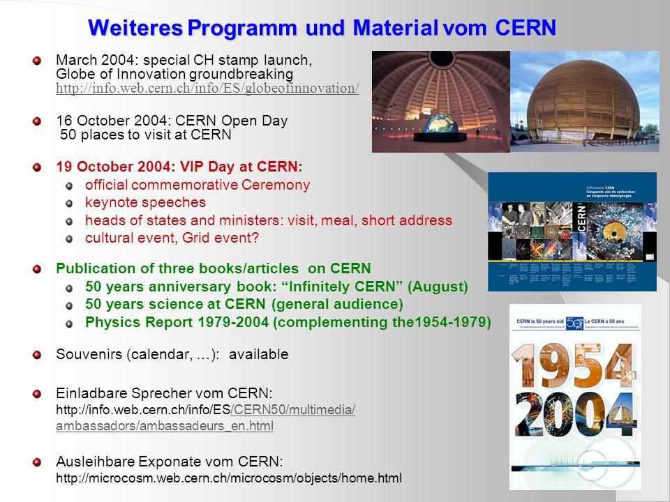 Weiteres Programm und Material vom CERN