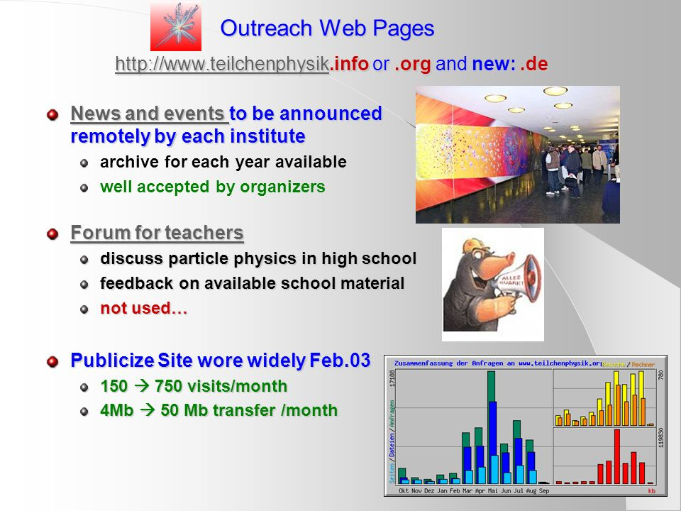 Outreach Web Pages http://www.teilchenphysik.info or .org and new: .de