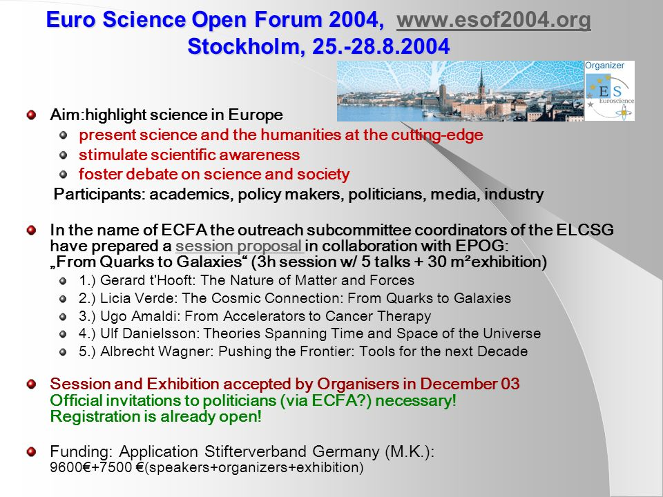 Euro Science Open Forum 2004, www. esof2004. org Stockholm, 25. -28. 8