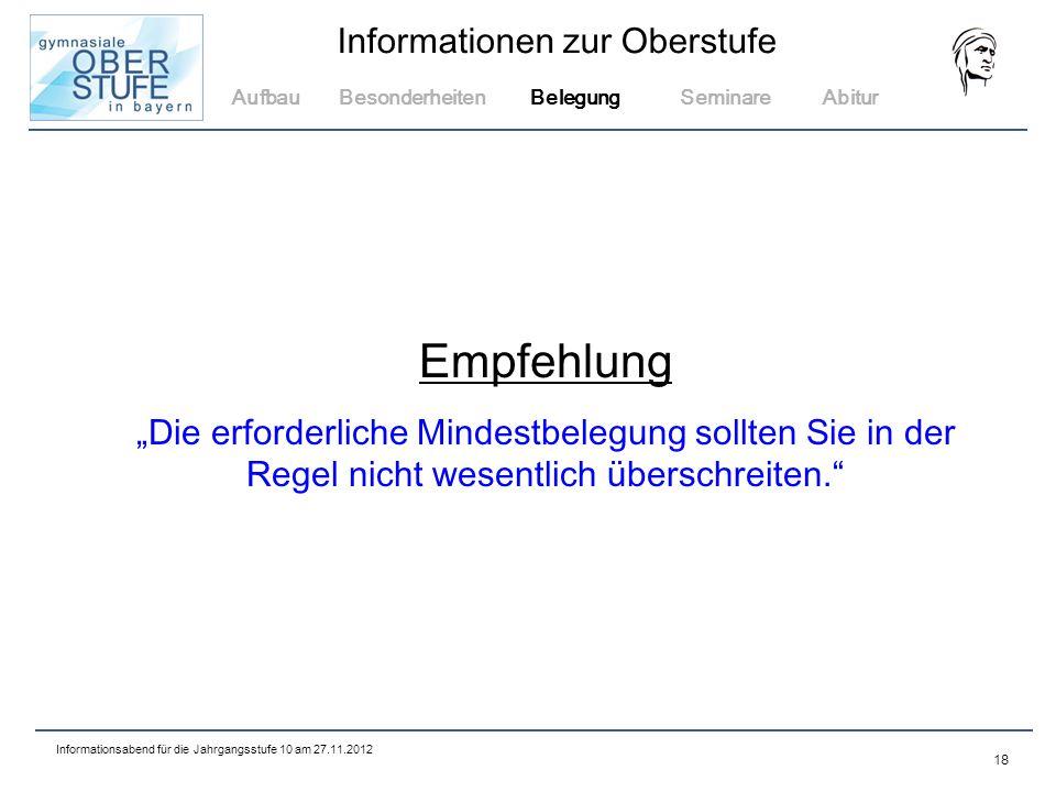 Aufbau Besonderheiten. Belegung. Seminare. Abitur. Empfehlung.