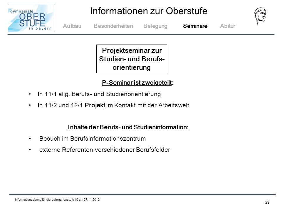 Projektseminar zur Studien- und Berufs- orientierung