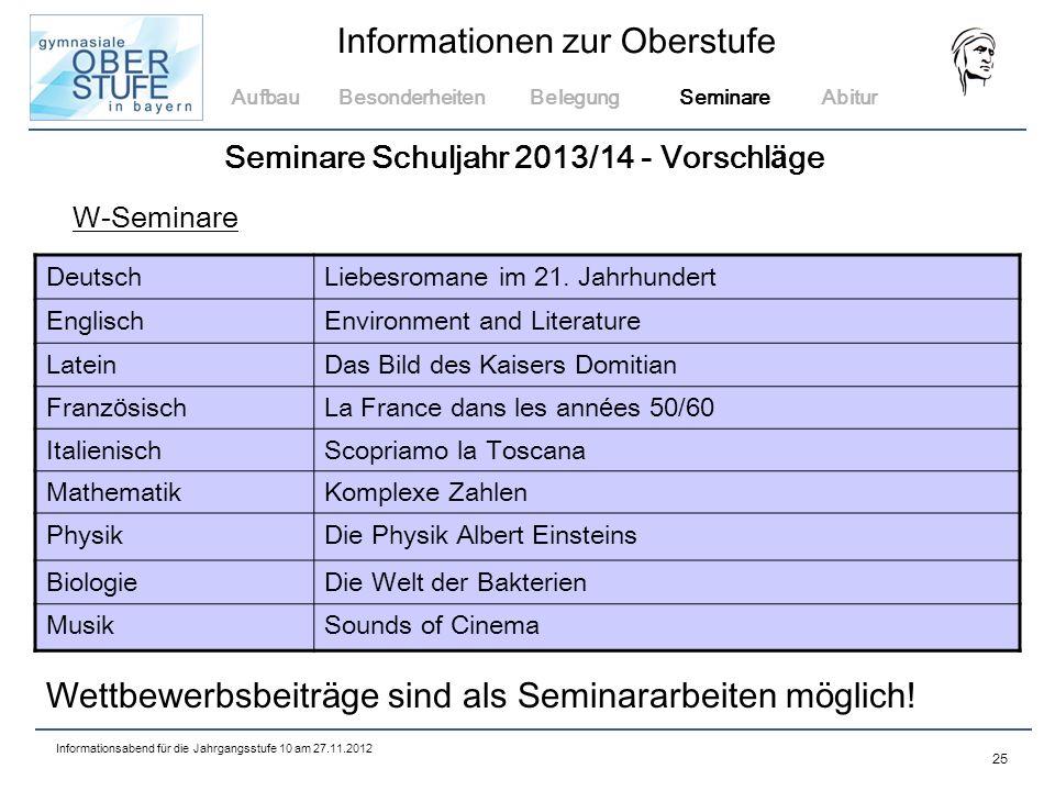 Seminare Schuljahr 2013/14 - Vorschläge
