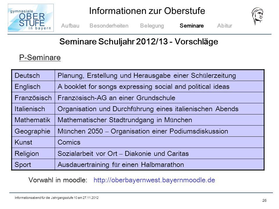 Seminare Schuljahr 2012/13 - Vorschläge