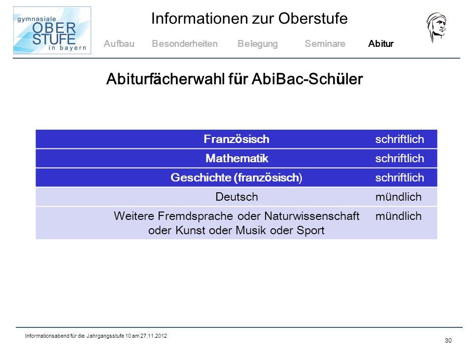Abiturfächerwahl für AbiBac-Schüler