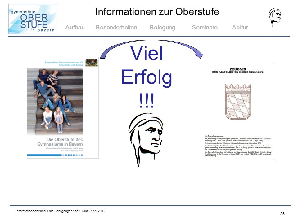 Aufbau Besonderheiten Belegung Seminare Abitur Viel Erfolg !!! 36