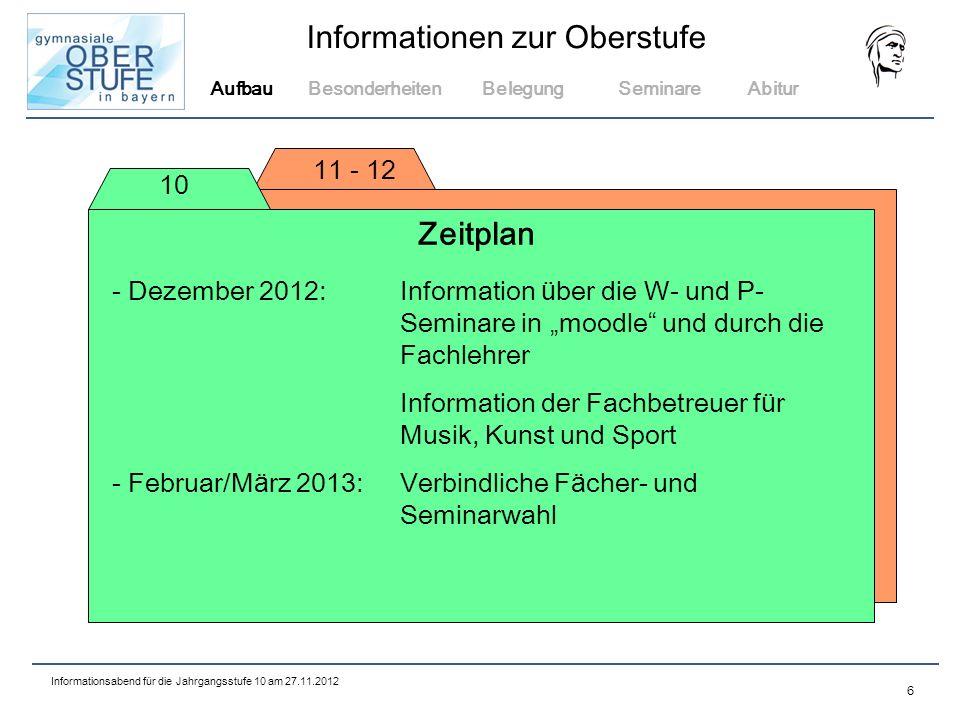 Aufbau Besonderheiten. Belegung. Seminare. Abitur. 11 - 12. 10. Zeitplan.