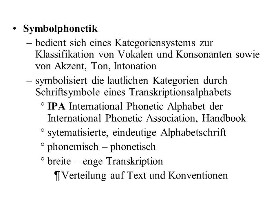 Symbolphonetik bedient sich eines Kategoriensystems zur Klassifikation von Vokalen und Konsonanten sowie von Akzent, Ton, Intonation.