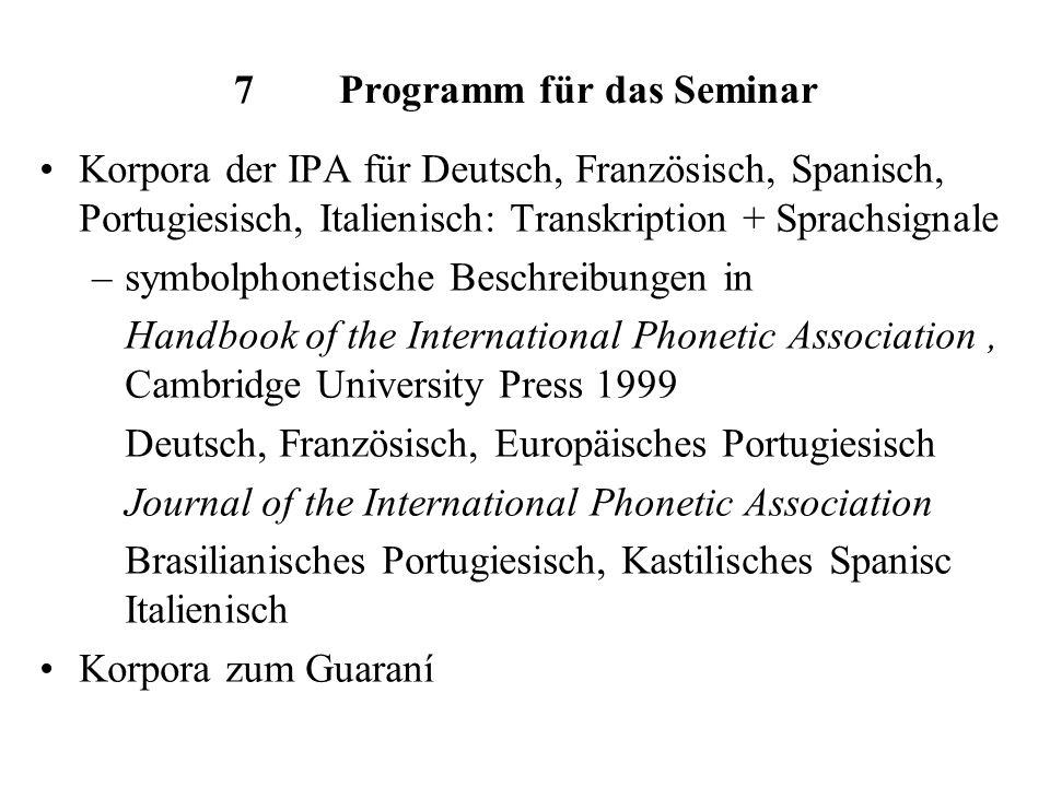 7 Programm für das Seminar