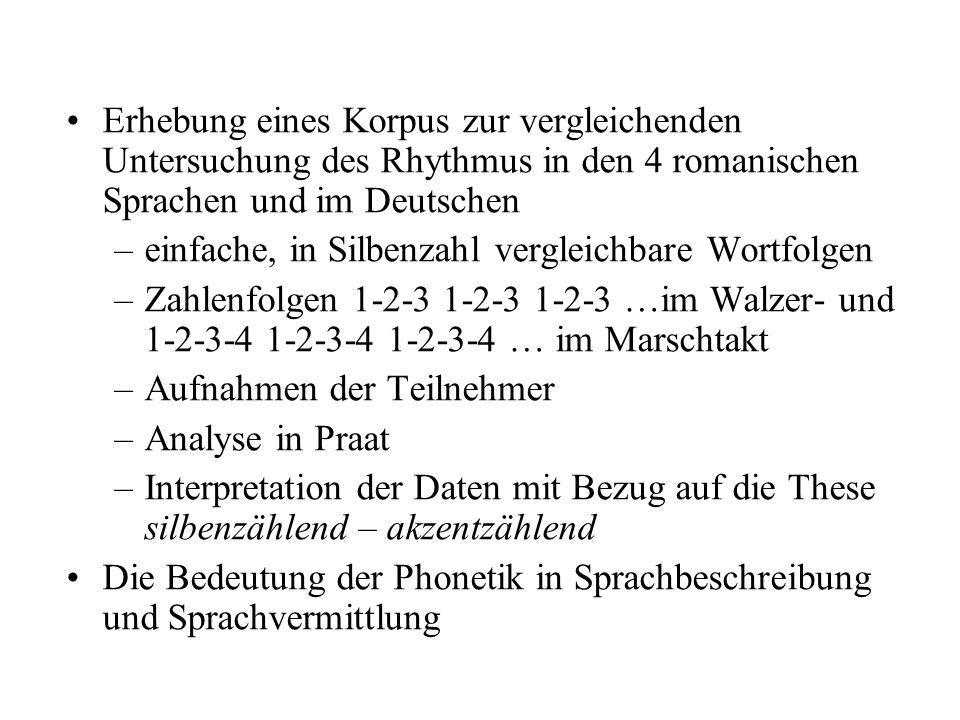 Erhebung eines Korpus zur vergleichenden Untersuchung des Rhythmus in den 4 romanischen Sprachen und im Deutschen
