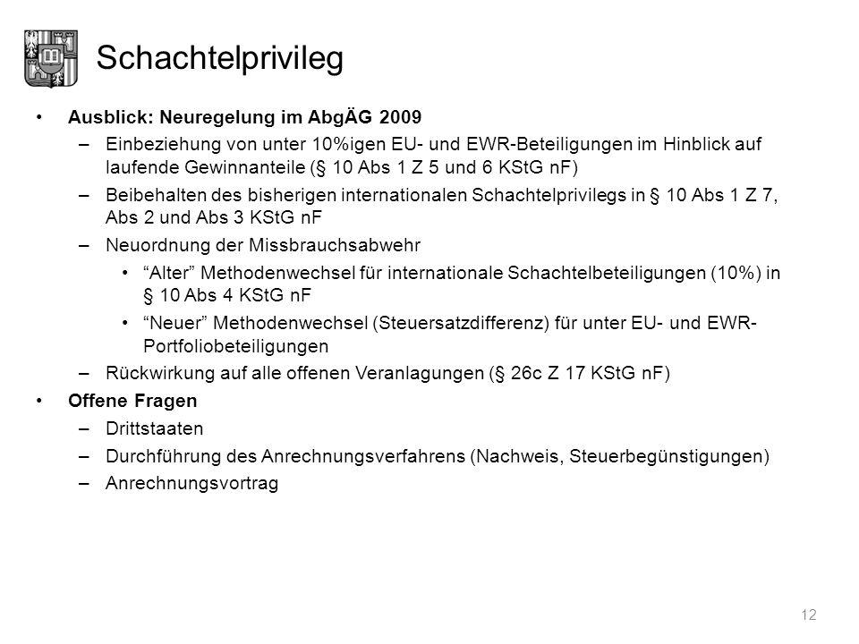 Schachtelprivileg Ausblick: Neuregelung im AbgÄG 2009