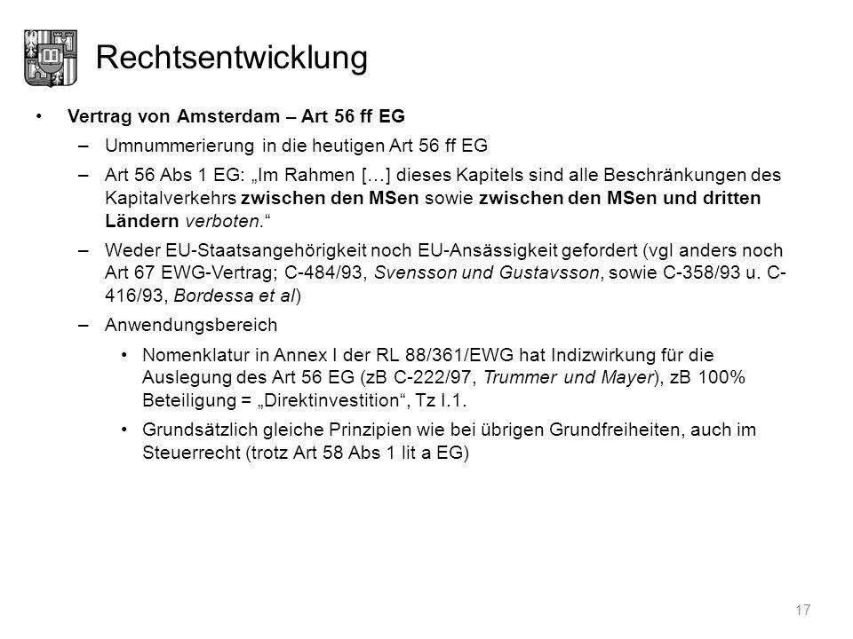 Rechtsentwicklung Vertrag von Amsterdam – Art 56 ff EG