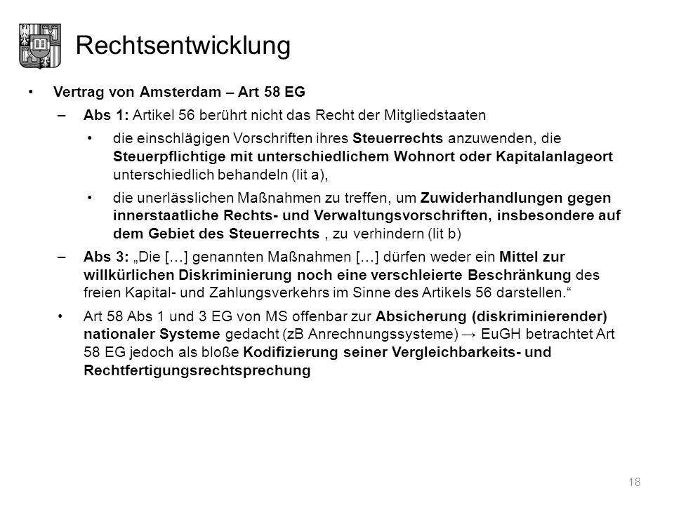 Rechtsentwicklung Vertrag von Amsterdam – Art 58 EG