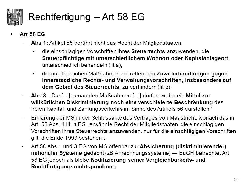 Rechtfertigung – Art 58 EG