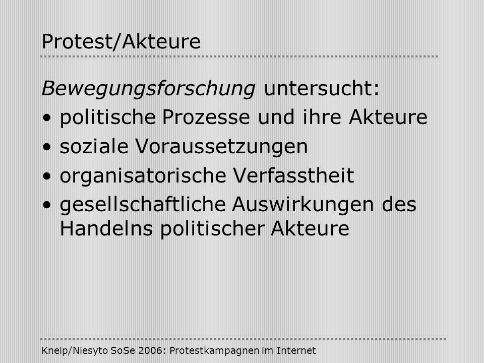 Bewegungsforschung untersucht: politische Prozesse und ihre Akteure