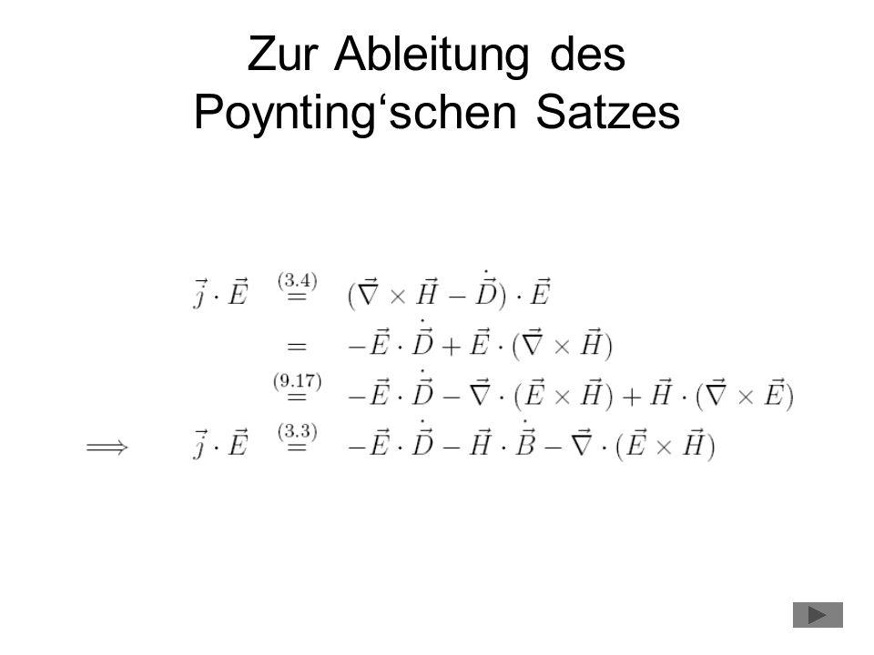 Zur Ableitung des Poynting'schen Satzes