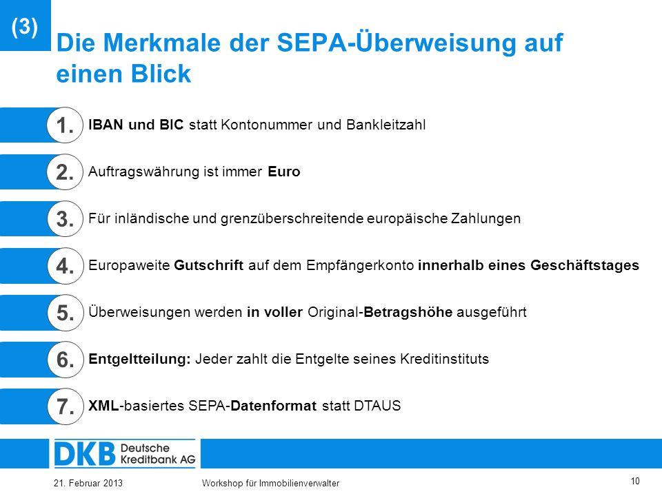 Die Merkmale der SEPA-Überweisung auf einen Blick