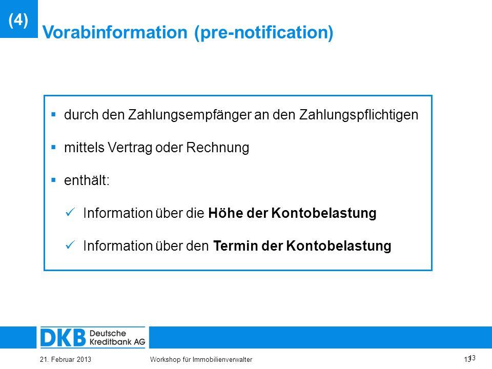 Vorabinformation (pre-notification)