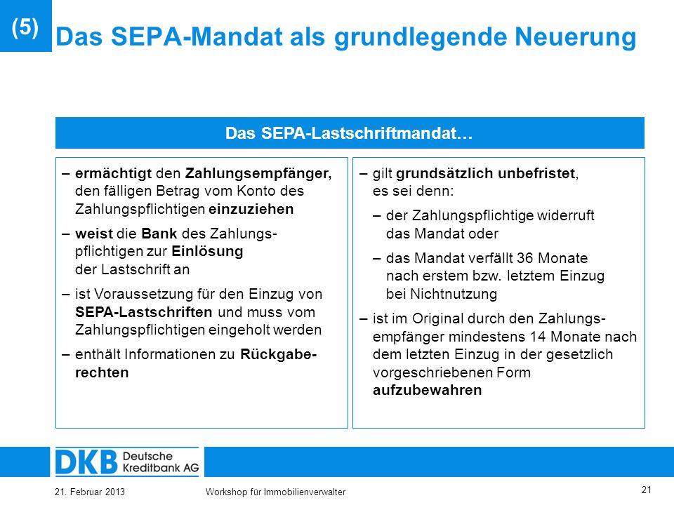 Das SEPA-Mandat als grundlegende Neuerung
